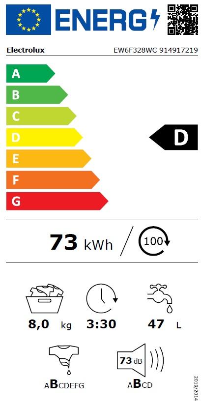 Obrázek galerie pro produkt Electrolux EW6F328WC PerfectCare 600 Pračka s parní funkcí a kapacitou 8kg