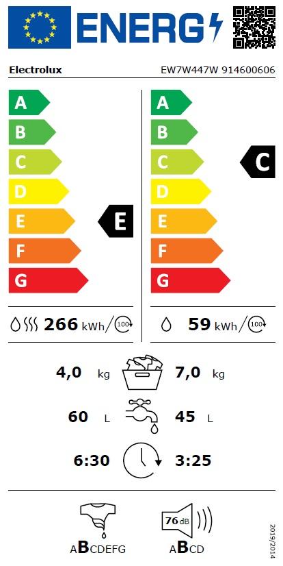 Obrázek galerie pro produkt Electrolux EW7W447W PerfectCare 700 Parní pračka se sušičkou DualCare, kapacita 7/4kg, 1400ot/min