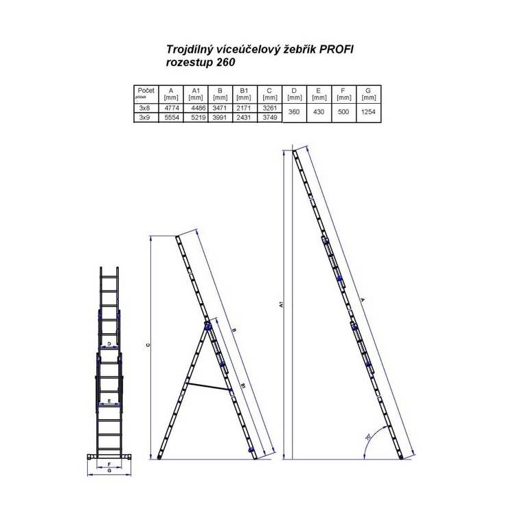 Obrázek galerie pro produkt G21 GA-H-3x8 Hliníkový žebřík 5,1m štafle 3,4m /6390383/