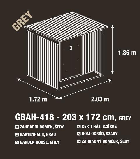 Obrázek galerie pro produkt G21 GBAH 418 šedý ZNWG-2S0 203 x 172 cm Zahradní plechový domek na nářadí