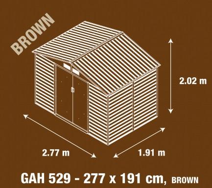 Obrázek galerie pro produkt G21 GAH 529 hnědý + AKCE, Zahradní domek na nářadí plechový 277 x 191cm, dekor dřeva