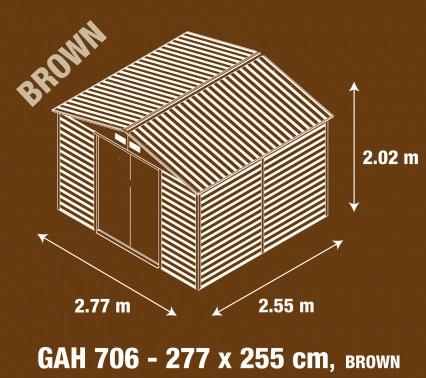 Obrázek galerie pro produkt G21 GAH 706 hnědý + AKCE, Zahradní plechový domek na nářadí 277 x 255cm, dekor dřeva