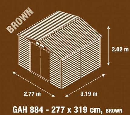 Obrázek galerie pro produkt G21 GAH 884 hnědý + AKCE, Zahradní plechový domek na nářadí 2,7 x 3,1 m, dekor dřeva