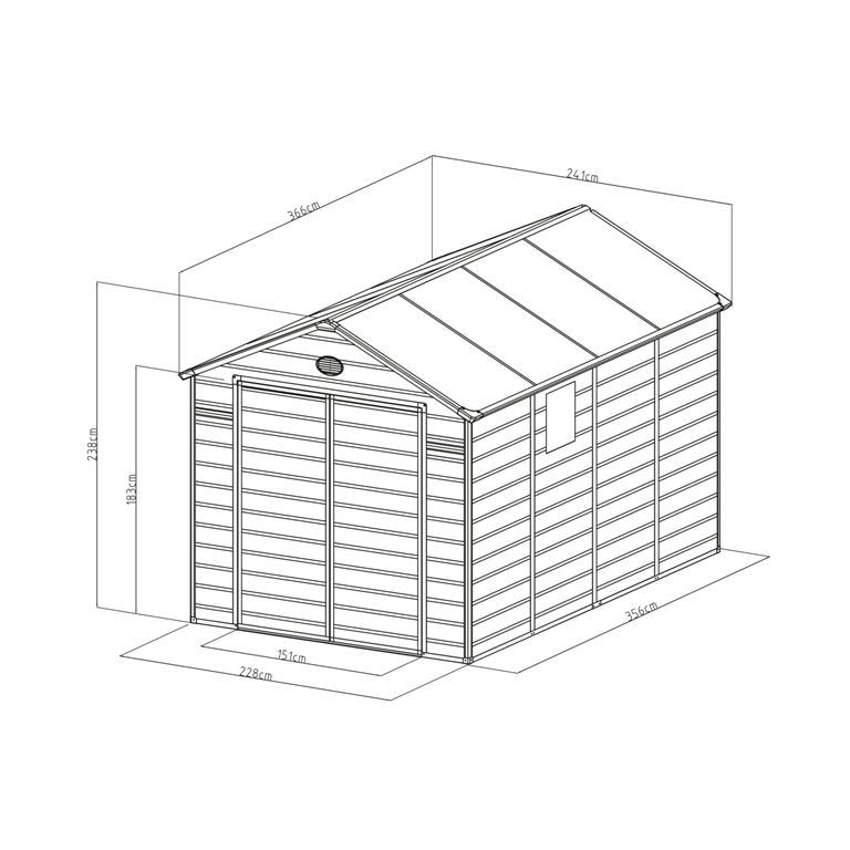 Obrázek galerie pro produkt G21 PAH 882 šedý Zahradní domek na nářadí 2,4 x 3,6 m, tvrzený plast