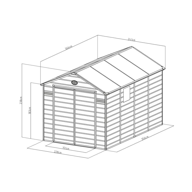 Obrázek galerie pro produkt G21 PAH 882 šedý + AKCE, Zahradní domek na nářadí, tvrzený plast, 2,4 x 3,6 m