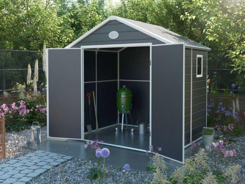 Obrázek galerie pro produkt G21 PAH 458 šedý + DÁREK, Zahradní domek na nářadí 241 x 190 cm, tvrzený plast