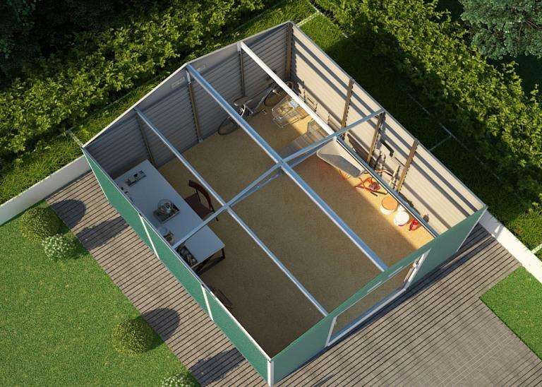 Obrázek galerie pro produkt G21 GAH 1300 zelený + AKCE, Zahradní plechový domek na nářadí 340 x 382 cm