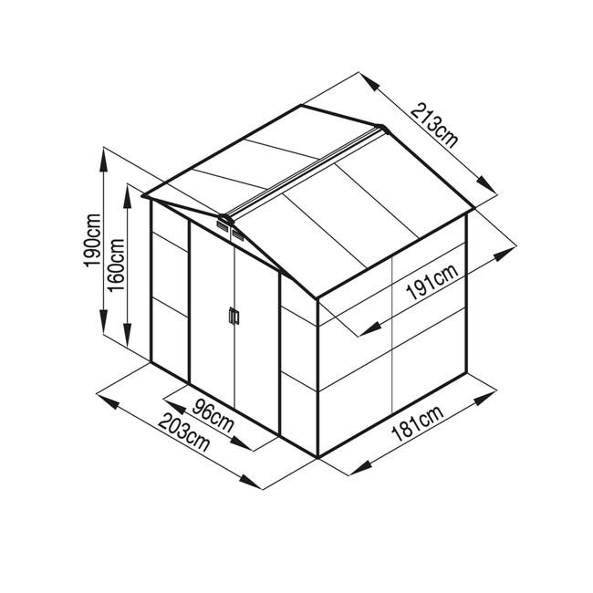 Obrázek galerie pro produkt G21 GAH 407 zelený + AKCE, Zahradní domek na nářadí plechový, 213x191cm