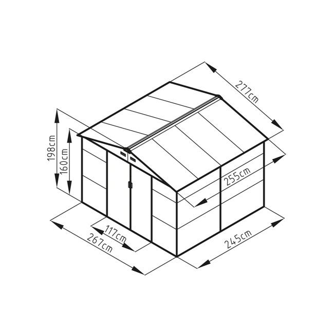Obrázek galerie pro produkt G21 GAH 706 zelený + AKCE, Zahradní plechový domek na nářadí 277 x 255 cm