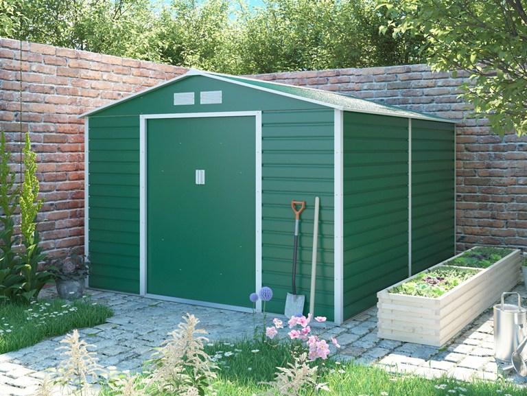 Obrázek galerie pro produkt G21 GAH 884 zelený + AKCE, Zahradní plechový domek na nářadí 277 x 319 cm