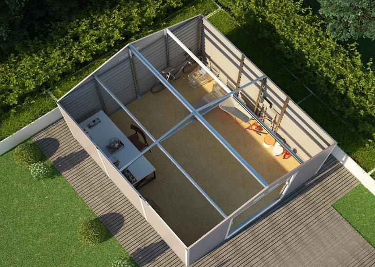 Obrázek galerie pro produkt G21 GAH 1300 hnědý + AKCE, Zahradní plechový domek na nářadí 340 x 382 cm