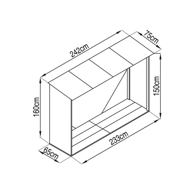 Obrázek galerie pro produkt G21 WOH 181 hnědý Přístřešek na dřevo 242 x 75 cm