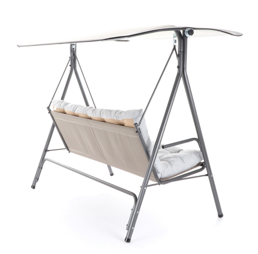Obrázek galerie pro produkt MFG ISLAND Zahradní kovová houpačka s čalouněným podsedákem a stříškou