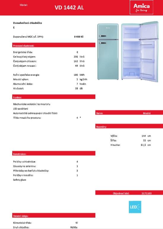 Obrázek galerie pro produkt Amica VD 1442 AL modrá + AKCE, RETRO Lednice s mrazákem nahoře 144cm