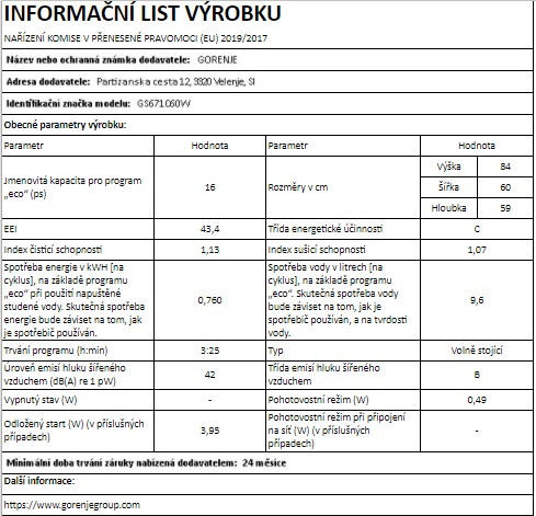 Obrázek galerie pro produkt Gorenje GS671C60W Advanced Myčka nádobí bílá 60cm, TotalDry, 16sad, MultiClack