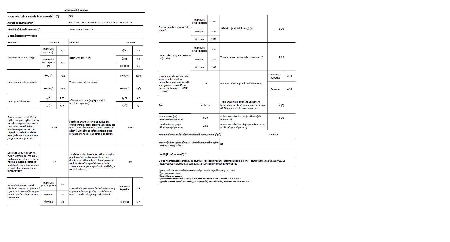 Obrázek galerie pro produkt AEG L8WBE68SI ÖKOMIX Vestavná parní pračka se sušičkou 8/4kg,1600ot/min.