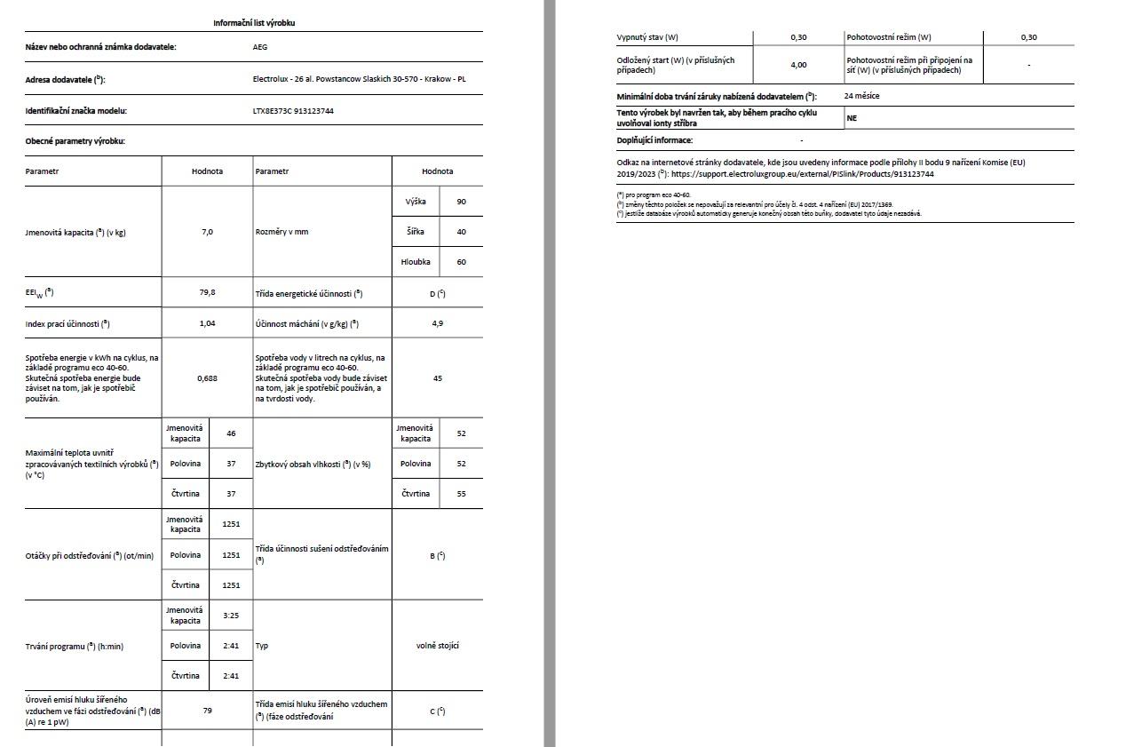 Obrázek galerie pro produkt AEG LTX8E373C ÖKOMIX Parní pračka vrchem plněná, kapacita 7kg, Time Manager