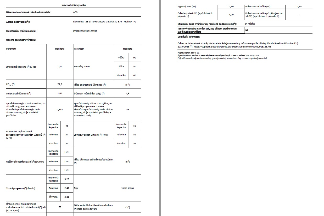 Obrázek galerie pro produkt AEG ProSteam LTX7E273C Parní pračka plněná horem, kapacita 7kg, Time Manager