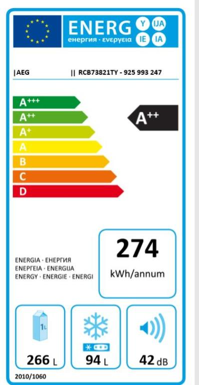 Obrázek galerie pro produkt AEG RCB73821TY TwinTech NoFrost Kombinovaná chladnička nerez, A++, 201cm