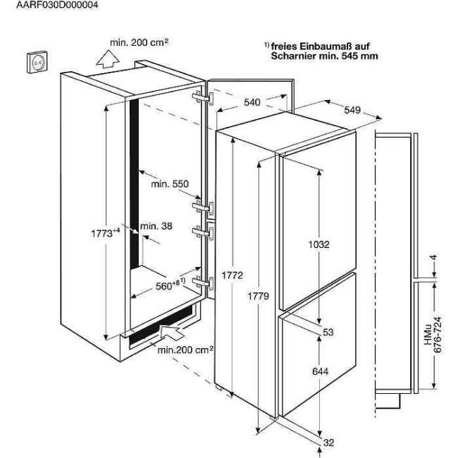 Obrázek galerie pro produkt AEG Mastery LowFrost SCB51811LS Vestavná kombinovaná chladnička A+, 177cm, 36dB