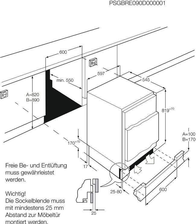 Obrázek galerie pro produkt AEG Mastery SFB58211AF Vestavná chladnička pod desku s mrazící přihrádkou A+, 82cm
