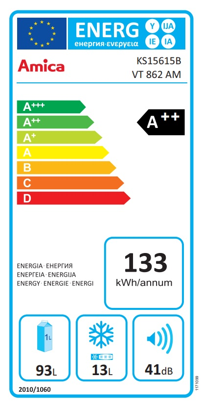 Obrázek galerie pro produkt Amica VT 862 AM béžová Retro jednodveřová chladnička, A++, 86cm