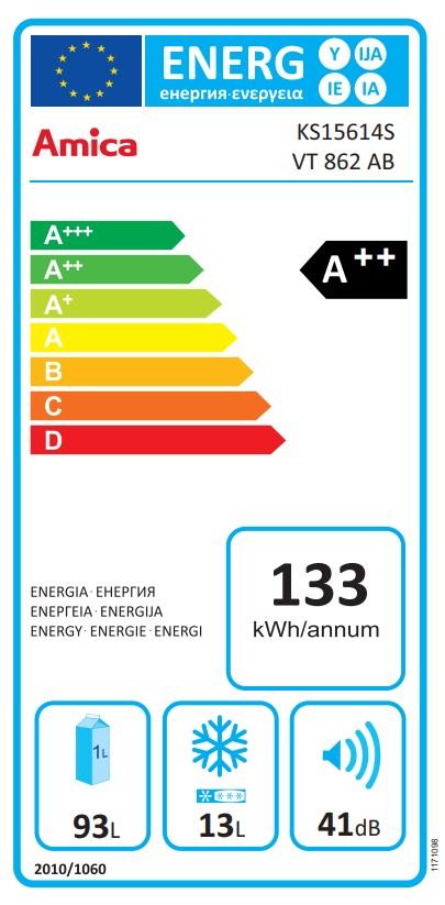Obrázek galerie pro produkt Amica VT 862 AB černá Retro jednodveřová chladnička, A++,86cm