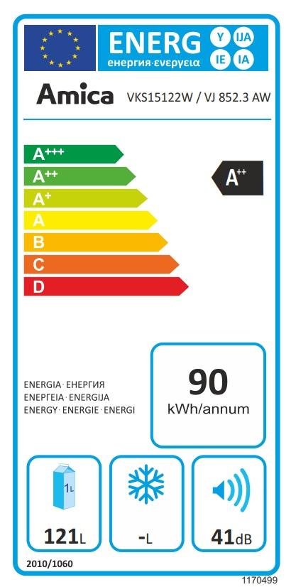 Obrázek galerie pro produkt Amica VJ 852.3 AW Jednodveřová monoklimatická chladnička A++, 85cm