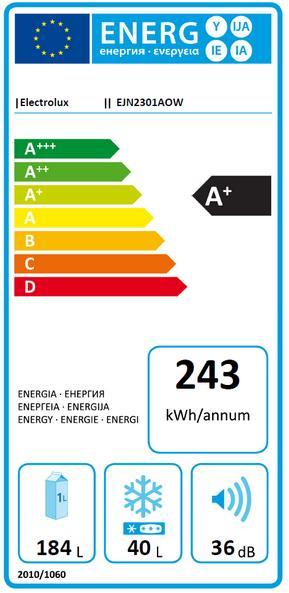 Obrázek galerie pro produkt Electrolux EJN2301AOW Vestavná lednice s mrazákem nahoře A+, 144cm