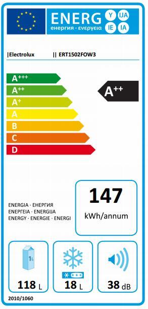 Obrázek galerie pro produkt Electrolux ERT1502FOW3 Chladnička jednodveřová bílá A++,85cm