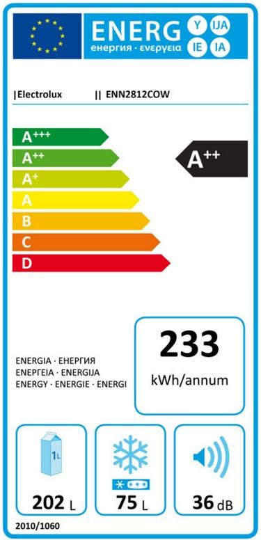 Obrázek galerie pro produkt Electrolux ENN2812COW Vestavná kombinovaná lednice A++, 177cm