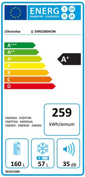 Obrázek galerie pro produkt Electrolux ENN2300AOW Vestavná lednice s mrazákem dole, 144cm, A+, 160/57l