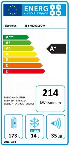 Obrázek galerie pro produkt Electrolux ERN2001BOW Vestavná lednice s mrazící přihrádkou,122cm, A+,173/14l