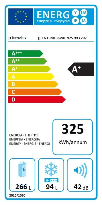 Obrázek galerie pro produkt Electrolux LNT5MF36W0 600 PRO NoFrost Kombinovaná chladnička bílá, 201cm