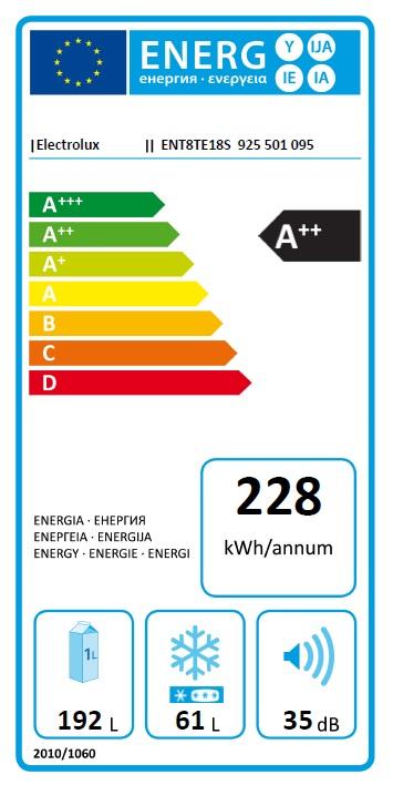 Obrázek galerie pro produkt Electrolux NoFrost ENT8TE18S Vestavná lednice kombinovaná A++,177cm, Nízkoteplotní zásuvka
