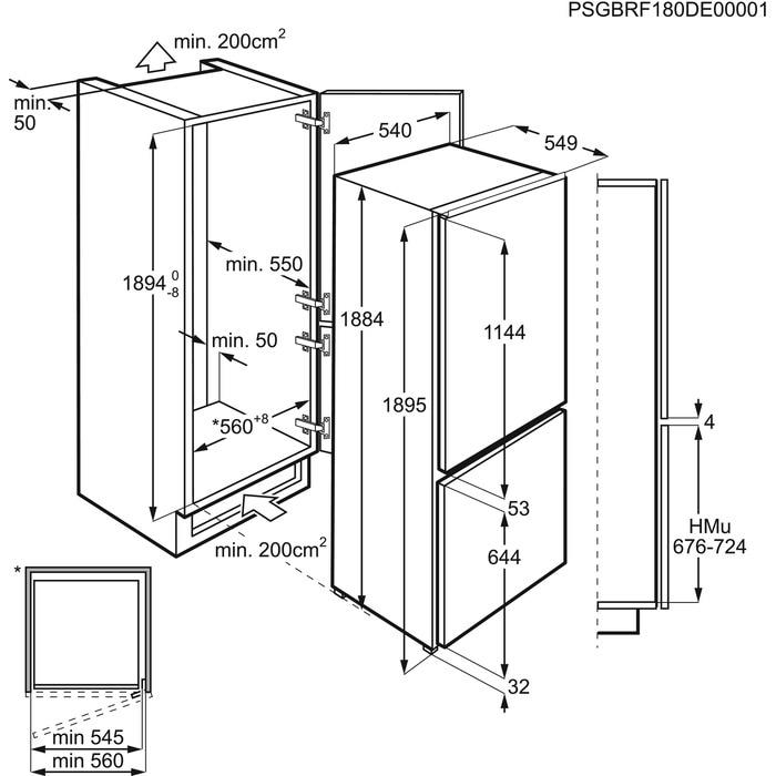 Obrázek galerie pro produkt Electrolux LNS8TE19S NoFrost Vestavná chladnička kombinovaná s mrazákem dole