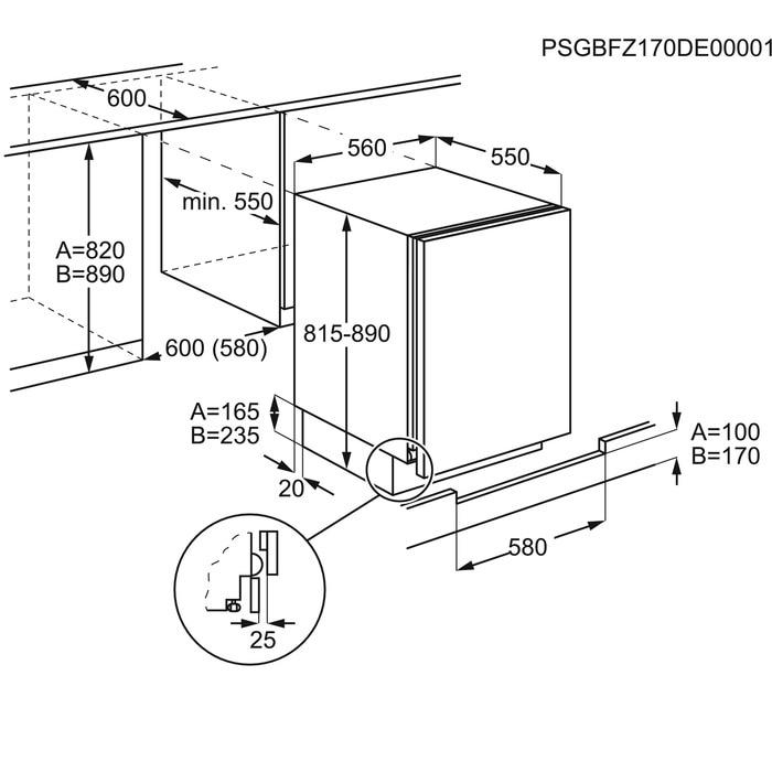 Obrázek galerie pro produkt Electrolux LXB2AF82S Vestavná chladnička monoklimatická pod desku 82cm