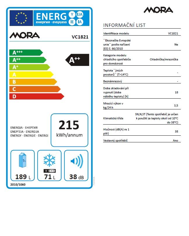 Obrázek galerie pro produkt Mora VC 1821 Vestavná kombinovaná lednice s mrazákem dole A++, 177cm
