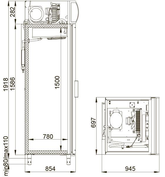 Obrázek galerie pro produkt Polair DM 107 bílá + AKCE Dárek a Záruka+, Chladící skříň prosklená jednodveřová se zámkem, 196cm