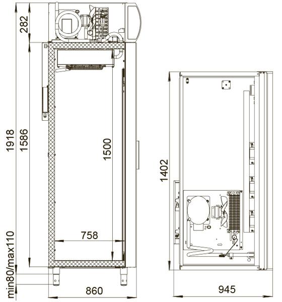 Obrázek galerie pro produkt Polair DM 114 + DÁREK, Chladící vitrína prosklená dvoudvěřová, křídlové dveře, 1400 litrů