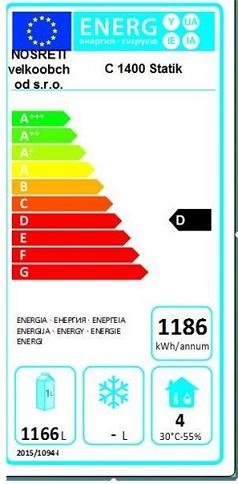 Obrázek galerie pro produkt NORDline C 1400 statik + AKCE Dárek a Záruka+, Gastro chladící skříň dvoudveřová, statické chlazení