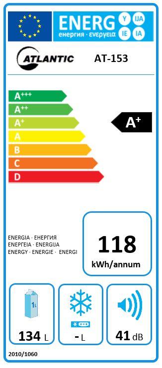 Obrázek galerie pro produkt Atlantic AT-153 Jednodveřová chladnička monoklimatická A+,84cm