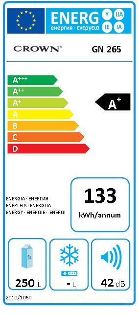 Obrázek galerie pro produkt Crown GN265 Jednodveřová lednička monoklimatická A+,144cm