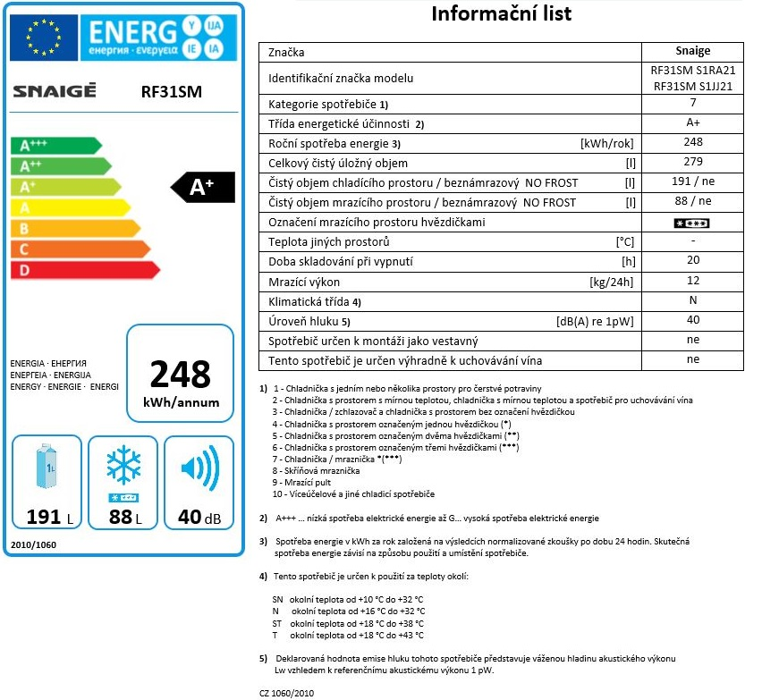 Obrázek galerie pro produkt Snaige RF31SM-S1JJ21 ICE LOGIC + AKCE, Kombinovaná lednice černá, A+, 176cm