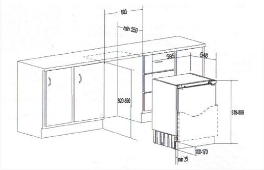 Obrázek galerie pro produkt Finlux FXN 1600 Vestavná lednice pod pracovní desku, A+, 82cm