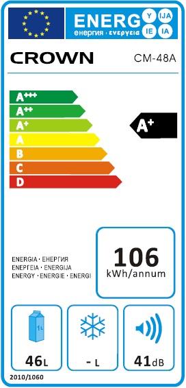 Obrázek galerie pro produkt Crown CM-48A Minibar s mrazící přihrádkou A+,52cm - AKCE