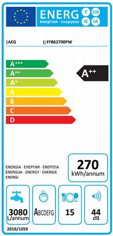 Obrázek galerie pro produkt AEG Mastery FFB62700PW AirDry Myčka nádobí bílá 60cm, A++,15sad, Příborová zásuvka