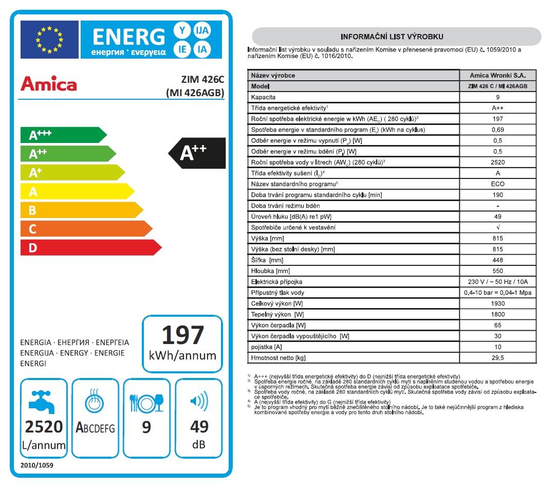 Obrázek galerie pro produkt Amica MI 426 AGB + AKCE, Vestavná myčka nádobí 45cm, A++/A/A, Systém HotAir