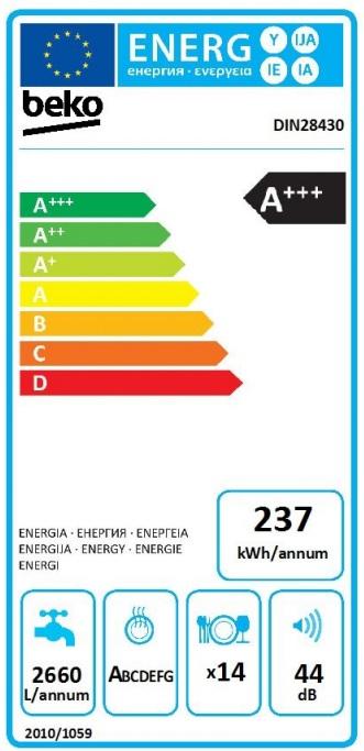 Obrázek galerie pro produkt Beko DIN28430 Plně integrovaná myčka nádobí 60cm, A+++/A/A, 14sad, Příborová zásuvka