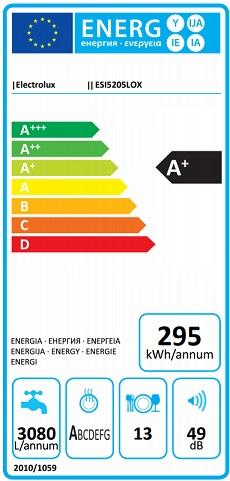 Obrázek galerie pro produkt Electrolux ESI5205LOX 300 AirDry Vestavná myčka nádobí s nerez panelem 60cm, A+/A/A